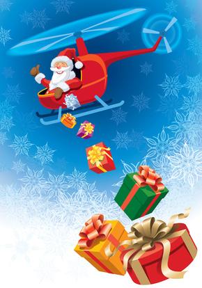 Père Noël et l'hélicoptère